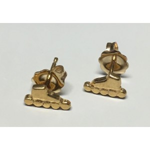 Inline Skate Earring Stud 14k Yellow Gold Small