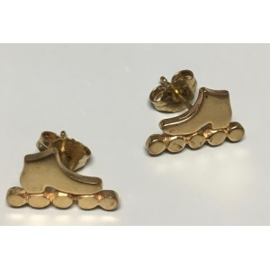 Inline Skate Earring Stud 14k Yellow Gold Large