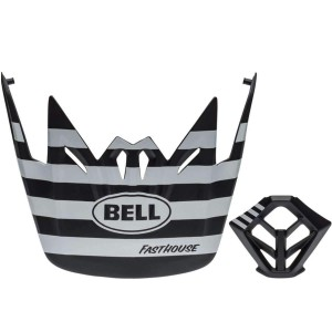 Bell Full 9 Visor Mouthpiece Combo Matte White Black Stripe