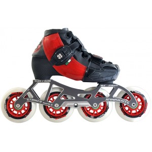 Luigino Kids Mini Challenge 4 Wheel Red/Black Adjustable Inline Speed Skate