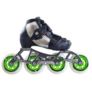 Luigino Kids Mini Challenge 4 Wheel Silver/Black Adjustable Inline Speed Skate