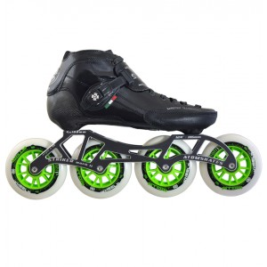 Luigino Strut Outdoor Inline Speed Skate Black/Silver 4 Wheel