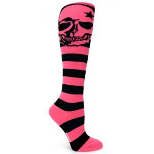 Pink Skulls Derby Socks